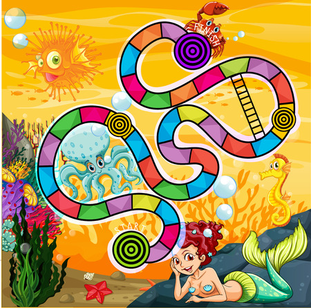 Illustration of a board game with underwater view Ilustracja