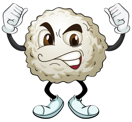 cotton ball: Illustration of a cotton ball with angry face Illustration