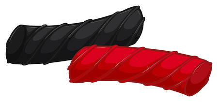 rasberry: Illustration of two pieces of licorice Illustration
