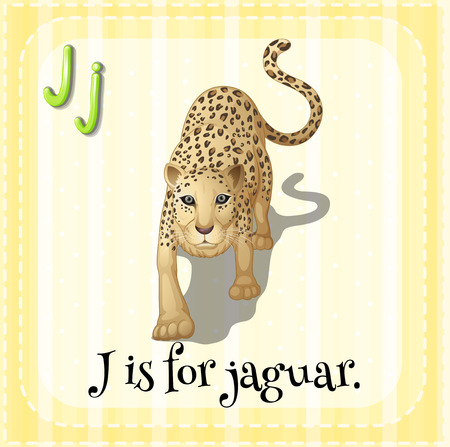 letter j: Illustration of an alphabet J is for  jaguar