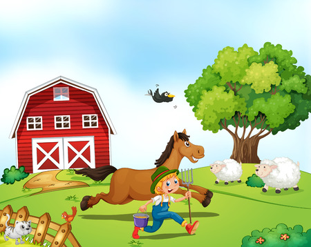 sheep barn: Illustration of a farmer running with a horse Illustration