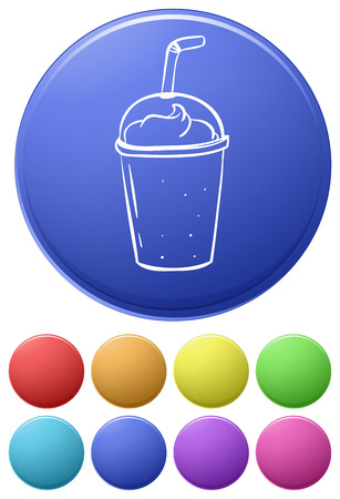 sip: Small buttons and a big button with a disposable glass on a white background Illustration