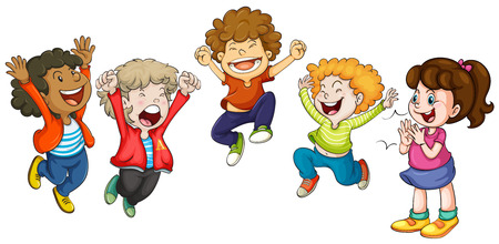 clapping: Illustration of children jumping