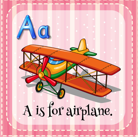airplane cartoon: Illustration of an alphabet A is for airplane