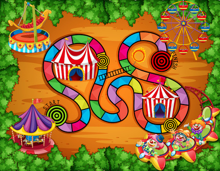 carnival ride: Illustration of a boardgame with carnival background Illustration