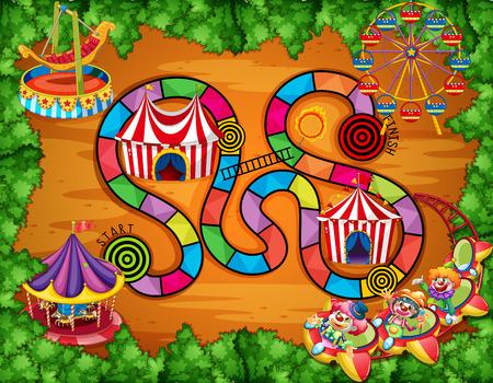 Illustrazione di un gioco da tavolo con il carnevale di sfondo