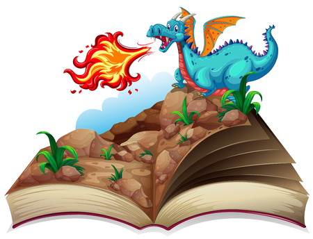 Illustration of a story book and a dragon Illustration