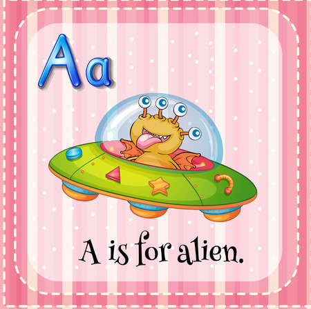 vowel: A letter A which stands for alien Illustration