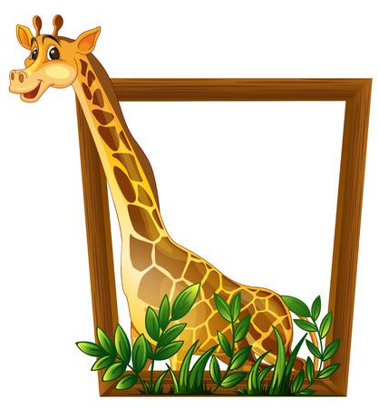 cuello largo: Ilustraci�n de una jirafa en un marco