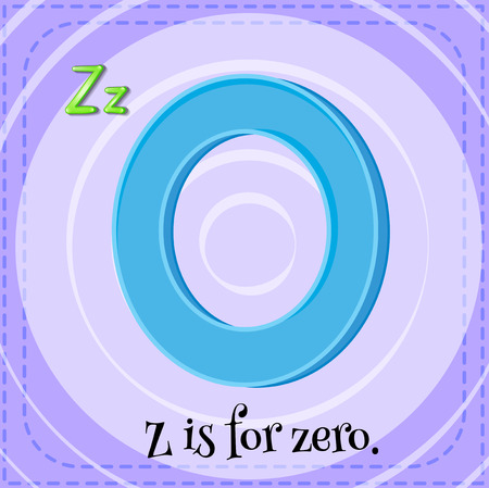 Illustration of a letter z is for zero