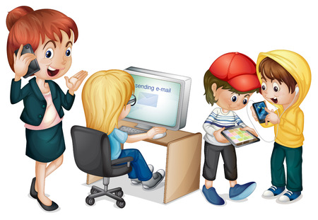 talking cartoon: Illustration of people using different devices Illustration