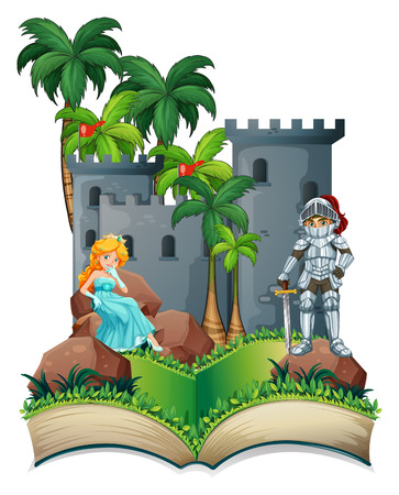 Illustration of a popup book of a princess and a knight Vector