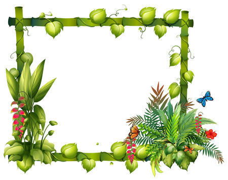 Illustration of a wooden frame with flowers Vector