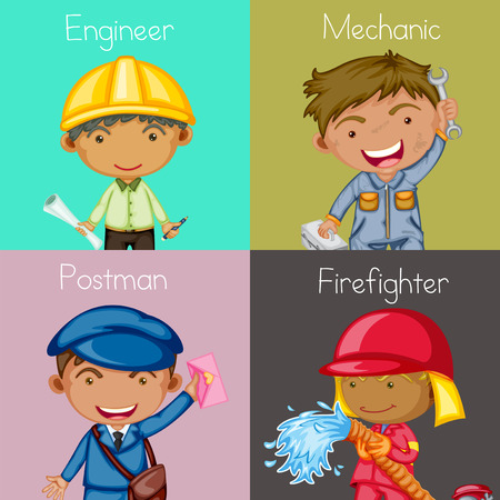 safety equipment: Illustration of four squares of different occupations