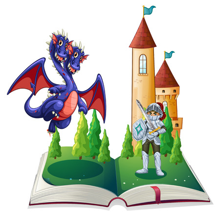 fantasy book: Illustration of a book of a knight and a dragon