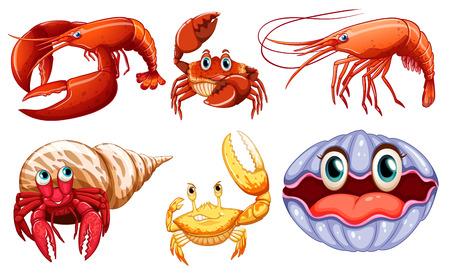 Illustration of different sea animals Vector