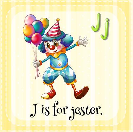 letter j: Illustration of an alphabet j is for jester
