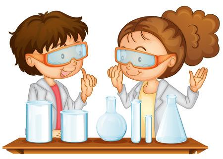 과학 실험실에서 작동하는 두 학생의 그림