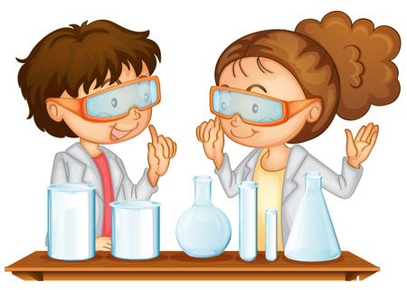 cartoon science: Illustration of two students working in a science lab Illustration
