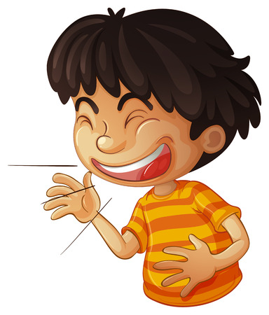 teenagers laughing: Illustration of a boy laughing