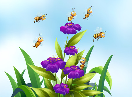 Illustration of bees flying over some flowers