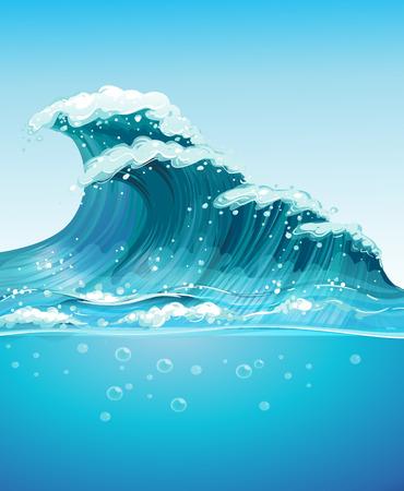 海で巨大な波のイラスト