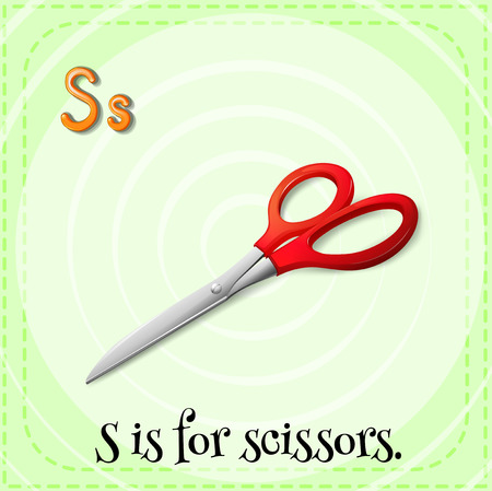 linguistic: Illustration of a letter s is for scissors