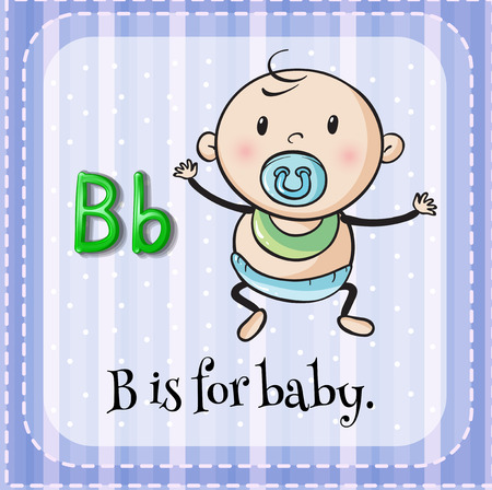 Illustration of a letter B is for baby Vector