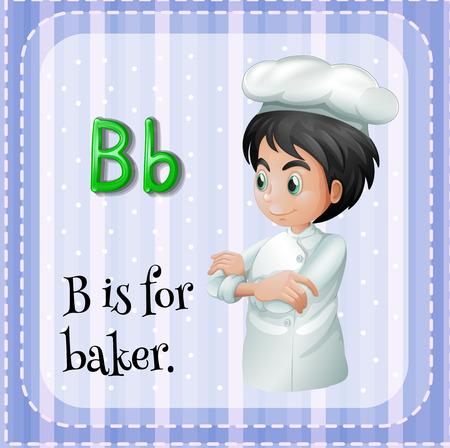 Illustration of a letter B is for baker Vector