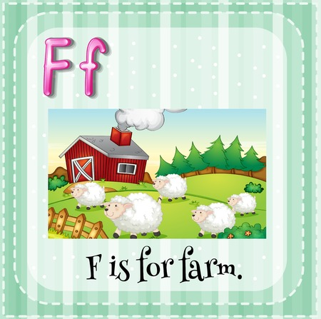 english countryside: Illustration of an alphabet F is for farm
