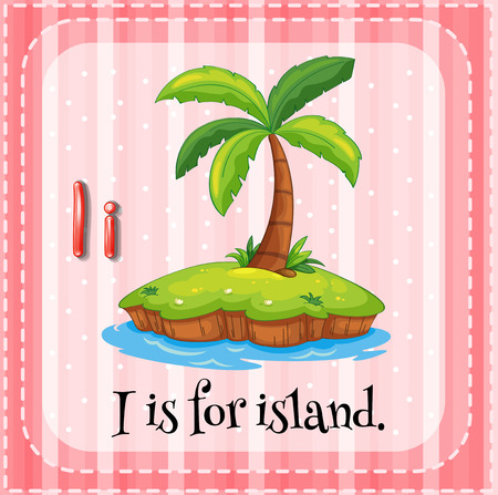 i kids: Illustration of a letter I is for island