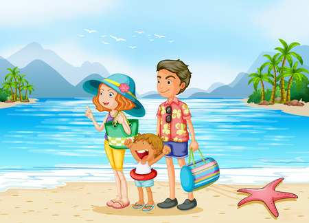 starfish beach: A family at the beach