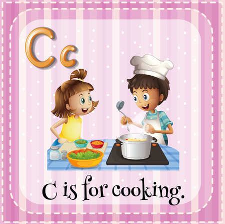 Illustration of a letter C is for cooking Vector