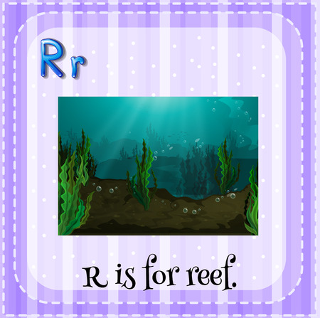 linguistic: Illustration of a letter r is for reef Illustration