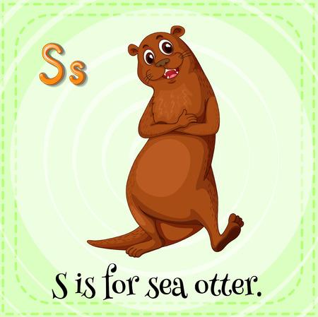 nutria caricatura: Una letra S de la nutria de mar Vectores