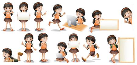 dessin enfants: Illustration d'une jeune fille dans diff�rentes poses avec une pancarte