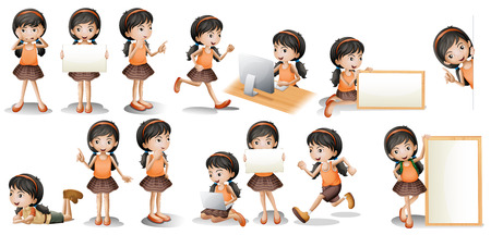 character of people: Illustration of a girl in different poses holding a sign Illustration