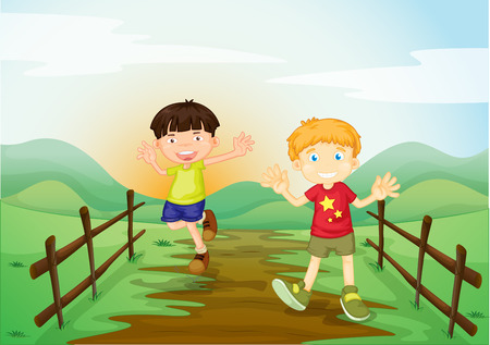hillside: Two boys playing at the field