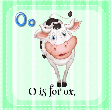 linguistic: Illustration of a letter o is for ox