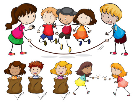 Illustration of many children playing Vector
