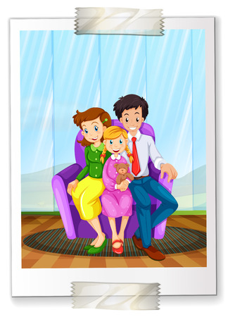 living moment: A family picture on a white background Illustration