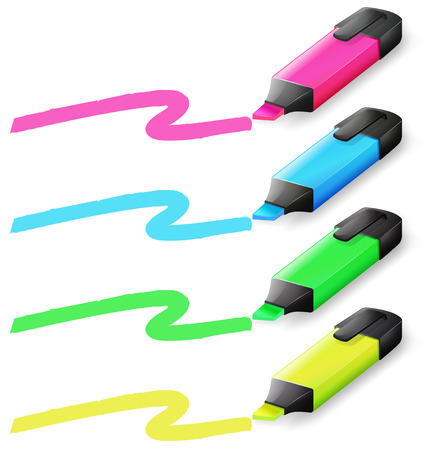 Illustration of different color markers Vector