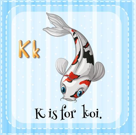 Illustration of a letter K is for koi Vector