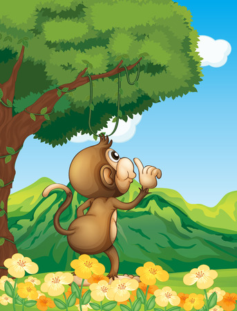 A monkey at the jungle standing under the tree Vector