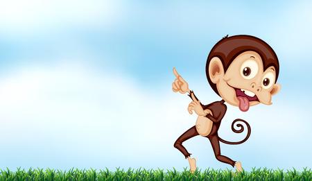 A playful monkey under the clear blue sky