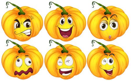 expresiones faciales: Ilustraci�n de la calabaza con las expresiones faciales Vectores