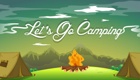 menu land: A poster showing a campsite with a campfire