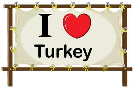 rectangulo: Una señalización que muestra el amor de Turquía sobre un fondo blanco