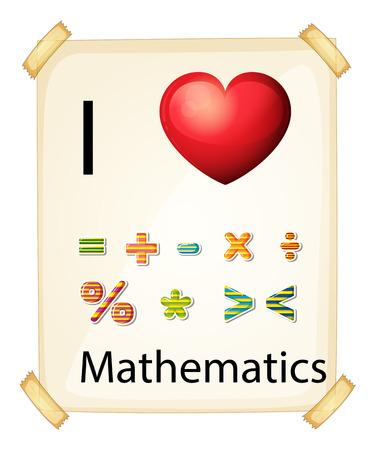 rectangulo: Un cartel que muestra el amor de las matemáticas en un fondo blanco