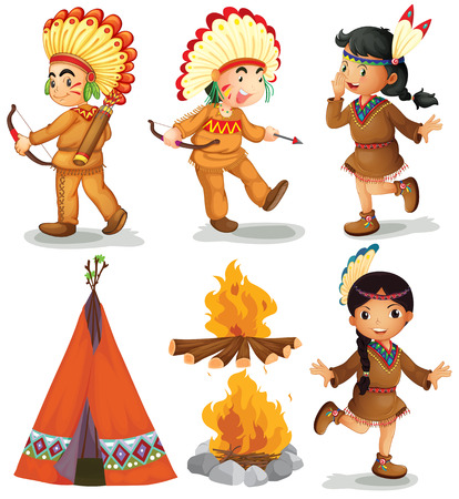 teepee: Illustration of american indians in different poses